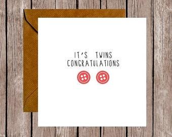 Button Congratulations It's Twins Card (Girls)