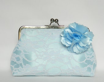 White and Blue Lace Clutch, Bridal Clutch, Wedding Clutch, Blue Floral Clutch, Bridesmaid Clutch, Bridesmaids Gift, Evening Clutch