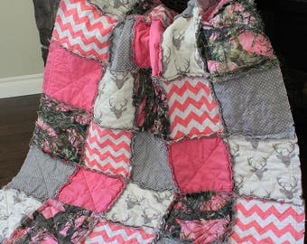 Baby Girl Rag Quilt,Girl Camo Quilt, Pink Camo Baby Quilt, Real Tree Camo Quilt, Deer Baby, Camo Nursery, Made To Order