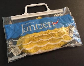 1960s Jantzen Swim Cap, New In Package, Yellow, Vintage, Lotus? Flowers, Made in England, No 102 (4166-169), Ribbed Inside Edge, Swimwear