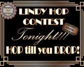 Speakeasy Sign Lindy Hop Contest Printable HOP till you DROP 1930s Era Art Deco Flapper Party Decor Wedding Dance Floor Sign Front Door Sign