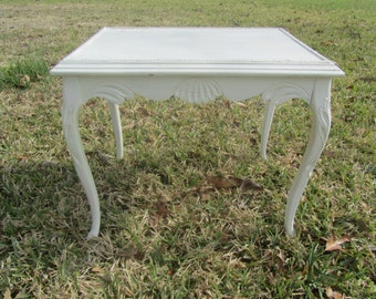 Shabby Chic table, end table, Ornate side Table, vintage table ,wood table, cottage decor,white table