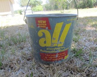 VINTAGE ADVERTISING BUCKET, All Detergent Bucket, Galvanized Bucket, Rustic Bucket, Vintage Pail
