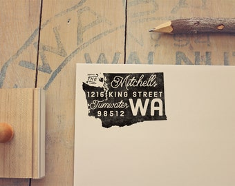 Washington Return Address State Stamp - Personalized Rubber Stamp