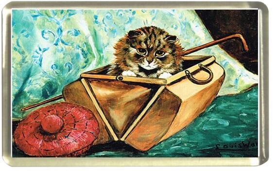 Louis Wain Gladstone Cat Fridge Magnet 7cm by 4.5cm