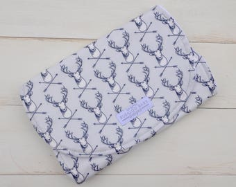 Burp Cloth - Spit Up Pad - Contoured - Hipster Stag Grey Navy