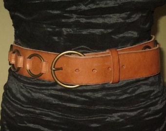 Woman's Vintage Cognac Tan Leather Belt , Brass Antiqued Buckle and Ring Appliques ,