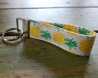 Tropical Pineapple Key Fob // Wristlet // Key Wristlet // Key Chain