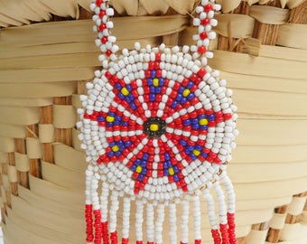 Vintage Native American Seed Bead Medallion Pendant Necklace