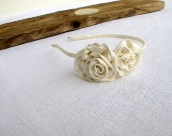 Floral headband - Floral hair accessory - Flower Girl -  Summer festive -  Flowers for hair - Ivory