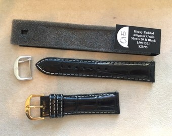 20mm Regular Black Alligator Grain Leather Heavy Padded Replacement Watch Strap