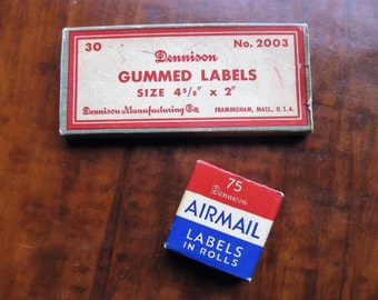 Vintage Dennison label set. No. 2003 large gummed labels and No. 537 Airmail labels. Vintage office. Office ephemera.  Mid-century office