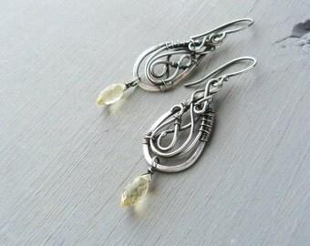 Silver dangle earrings with lemon quartz - Wire wrapping earrings - Bohemian fine jewelry Bridal earrings - Gift for women - Classic design