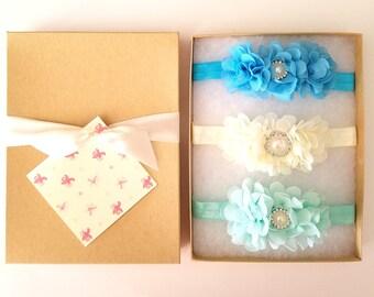 Turquoise Ivory Mint Baby Headband Gift Set with Chiffon Flowers, Flower Girl Headband, Toddler Headband, Baby Shower Gift