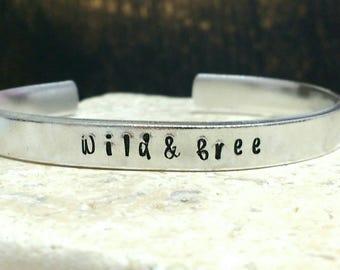 Wild and free hippie boho bracelet - adjustable - handstamped - aluminium, copper, brass or sterling silver