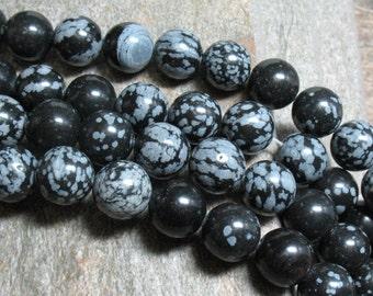 "12 mm Snowflake Obsidian Beads, 15"" strand - Item B0829"