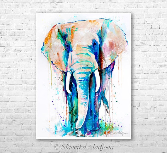 African Elephant Watercolor Painting Print By Slaveika