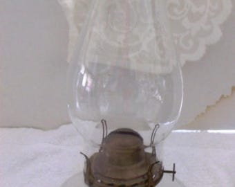 VINTAGE 1900 Oil LAMP With Wick, Brass Fixtures, Bubble Chimney,Perfect Condition
