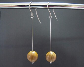 Wood Jasper Stainless Steel Pendulum Earrings