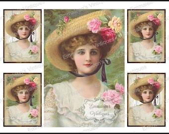 Vintage Shabby Grunge Victorian Woman Pink Roses Waterslide Decals~WOM949