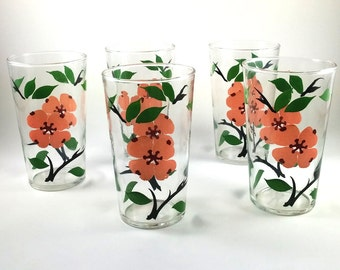 Vintage Federal Glass 5 Piece Set - Peach Flowers with Green Leaves Tumblers 8 Oz.