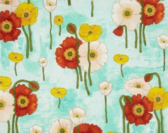 Poppies fabric by the yard by Michael Miller - Gathered Poppies fabric - floral fabric - flower fabric - aqua fabric - poppy fabric - #17062