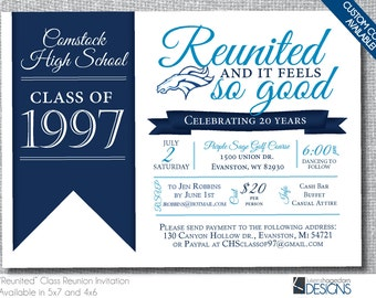 Reunited Class Reunion Invitation - 10,20,25,30,35,40 - Custom Digital File Only
