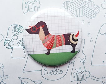 Sausage dog Pocket Mirror