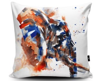 Watercolour Elephant Art Cushion by Liz Chaderton, Vegan Suede Elephant Cushion, Elephant Pillow, Elephant Gift - 45/60cm, Made in the UK.