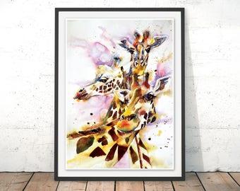 The Three Sister Giraffes Print, Giraffes Watercolour Wall Art, Cheeky Giraffes Group Painting, A Tower of Giraffes Poster by Liz Chaderton