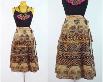 Kashvi Wrap Skirt //  vintage 70s Indian block print skirt 1970s India cotton Lurex rainbow Metallic DEADSTOCK ethnic Hippie skirt One Size