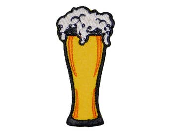 "Glass of Beer Logo Embroidered Iron on or sew on Patch Applique 3"" Foam Pint"