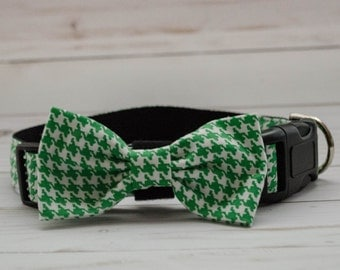 Green Houndstooth Dog Bow Tie Collar