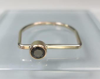 Gold or Silver Bar Birthstone Ring, Choice of 12 Birthstones & Black CZ, 4mm Gemstone Birthstone Stacking Ring, All Sizes Available