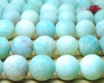 37 pcs of Natural Peru Amazonite matte round beads in 10mm (06043#)