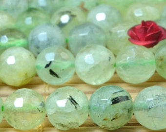 47 pcs Natural Tourmalated Quartz Prehnite round  faceted beads in 8mm (06072#)
