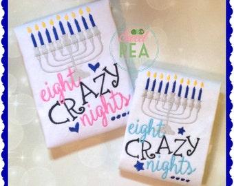 Embroidered Hanukkah Shirt - Eight Crazy Nights - Kids Menorah Shirt - Applique Tee - Baby Bodysuit -Hanukkah Shirt - Personalized