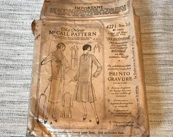 1920's The New McCall Pattern  Women's Dress 4271