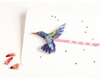 hairpin hummingbird, something blue, wearable art, hummingbird hairpin, bobby pin bird, wedding hairpin, bird jewelry, blue hummingbird