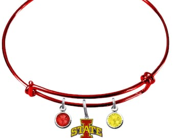 Iowa State Cyclones COLOR EDITION Wire Charm Expandable Bangle Bracelet w/ Red & Gold Crystal Charms - Pick Your Color