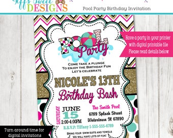 Pool Party Invitation - Summer Party - Water Party Invite -  Teen Girl Pool Party