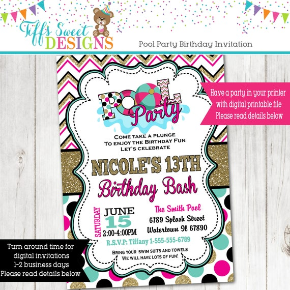 Pool Party Invitation Summer Party Water Party Invite – Pool Party Invitations for Girls