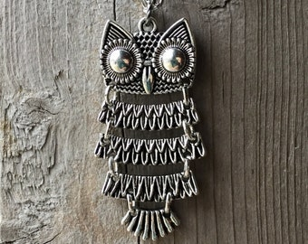 Silver Owl Charm Pendant Long Chain Necklace