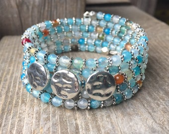 Triple Silver Button Blues Multi Strand Memory Wire Coil Bracelet With Matching Bead Dangles