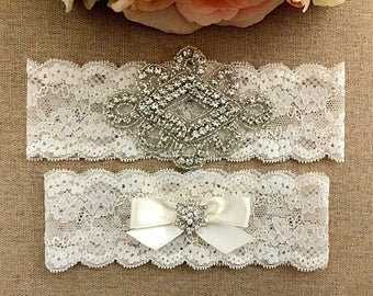 Wedding Garter - Bridal Garter - Ivory Crystal Rhinestone and Pearl Garter and Toss Garter Set