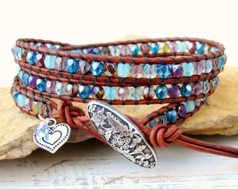 Blue Triple Leather Wrap Bracelet with Heart ~ Blue and Purple Wrap ~ Boho Wrap ~ Leather Bracelet ~ OOAK Gift Idea for Her