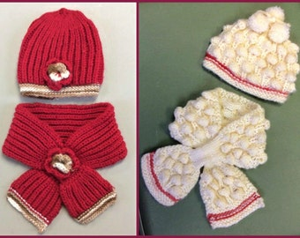 Cute 2 Pieces set for baby girl,baby alpaca hat scarf shawl,hand knitted alpaca set,red  with flower hat,cream pom pom hat,Peruvian alpaca