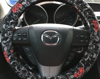 The Walking Dead Steering Wheel Cover (black white and red)