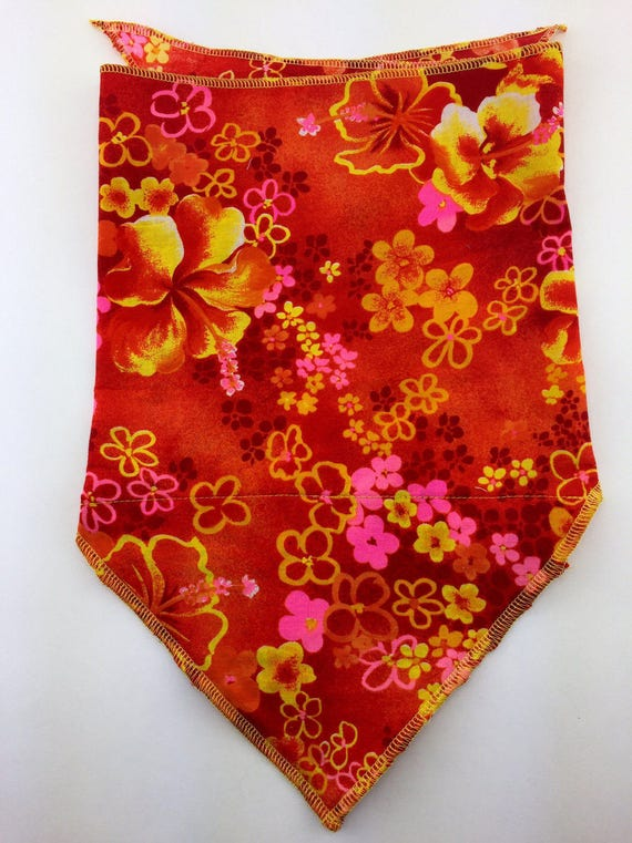 Gnarly Neon: Orange Cotton Bandana w/ Neon Pink, Yellow, Red Vintage Hawaiian Print with Secret Pocket