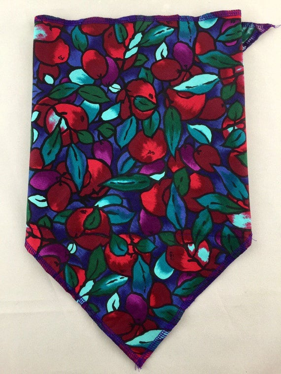 Forbidden Fruits: Cotton Bandana w/ Stained Glass Fruit Print in Purple, Coral and Teal w/ Secret Pocket